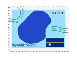 Stamp with Map and Flag of Nauru Prints by  Perysty