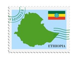 Stamp with Map and Flag of Ethiopia Posters af Perysty