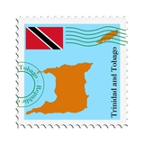 Stamp with Map and Flag of Trinidad and Tobago Print by  Perysty