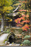 Japan Takayama Hokke-Ji Temple Garden with Stone Bridge Autumn Photographic Print by  Nosnibor137