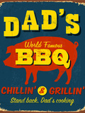 Vintage Metal Sign - Dad's BBQ - Raster Version Photographic Print by Real Callahan