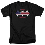 Batman - American Flag Oval T-Shirt