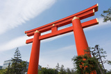 Red Otorii of Heian Jingu Shrine under the Blue Sky in Kyoto Japan. Print by  elwynn
