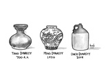 Three vases from various epochs -- Tang Dynasty, Ming Dynasty, Duck Dynast - New Yorker Cartoon Premium Giclee Print by Bob Eckstein