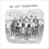 The Last Thanksgiving - New Yorker Cartoon Stretched Canvas Print by Roz Chast
