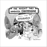 Monks in a wine cellar shout out 'Call the attorneys!' in unison, as they … - New Yorker Cartoon Stretched Canvas Print by Leo Cullum
