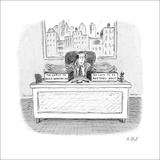 Executive with two boxes on his desk. One labeled, 'Too Early to Begin Wor… - New Yorker Cartoon Stretched Canvas Print by Roz Chast
