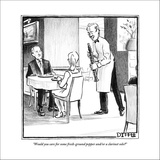 """Would you care for some fresh-ground pepper and/or a clarinet solo?"" - New Yorker Cartoon Stretched Canvas Print by Matthew Diffee"