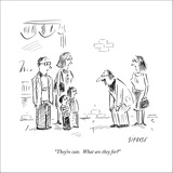 """""""They're cute.  What are they for?"""" - New Yorker Cartoon Stretched Canvas Print by David Sipress"""