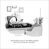 """And should you retain us, Mr. Hodal, you'll find that we're more than jus…"" - New Yorker Cartoon Stretched Canvas Print by Leo Cullum"