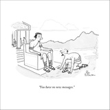 """""""You have no new messages."""" - New Yorker Cartoon Stretched Canvas Print by Leo Cullum"""