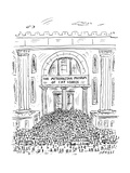 The metropolitan museum of Cat Videos thronged with visitors. - New Yorker Cartoon Premium Giclee Print by David Sipress
