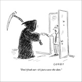 """""""Don't freak out—it's just a save-the-date."""" - New Yorker Cartoon Stretched Canvas Print by David Sipress"""