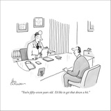 """""""You're fifty-seven years old. I'd like to get that down a bit."""" - New Yorker Cartoon Stretched Canvas Print by Leo Cullum"""