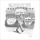A man is seen walking down the sidewalk with word bubbles around him decla… - New Yorker Cartoon Stretched Canvas Print by Roz Chast