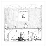 Office with poster on the wall for 'C.E.O. Of The Month.' - New Yorker Cartoon Stretched Canvas Print by Matthew Diffee