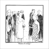 """Thanks. It's vintage."" - New Yorker Cartoon Stretched Canvas Print by Matthew Diffee"
