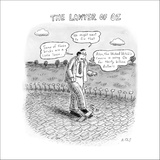 """""""The Lawyer of Oz"""" A man walks down the yellow brick road and talks about …"""" - New Yorker Cartoon Stretched Canvas Print by Roz Chast"""