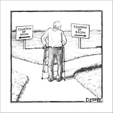 An elderly man is seen standing next to two arrow signs pointing in opposi… - New Yorker Cartoon Stretched Canvas Print by Matthew Diffee