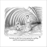 """Let's face it, kid. You're never gonna be a real boy, and I'm never gonna…"" - New Yorker Cartoon Stretched Canvas Print by Paul Noth"