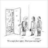"""""""It's a major fixer-upper.  How's your marriage?"""" - New Yorker Cartoon Stretched Canvas Print by David Sipress"""
