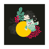 Owl with the Moon Banner. Print by  panova