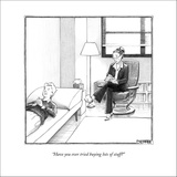 """""""Have you ever tried buying lots of stuff?"""" - New Yorker Cartoon Stretched Canvas Print by Matthew Diffee"""