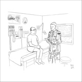 Man at doctor, Doctor is wearing suit with advertising on it. - New Yorker Cartoon Stretched Canvas Print by Paul Noth