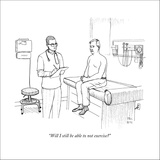 """Will I still be able to not exercise?"" - New Yorker Cartoon Stretched Canvas Print by Paul Noth"