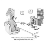 """I do corporate, divorce, and malpractice, but I'm most familiar with leas…"" - New Yorker Cartoon Stretched Canvas Print by Leo Cullum"