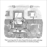 """""""That's my storage shed. It's where I keep all the densely worded, multi-p…"""" - New Yorker Cartoon Stretched Canvas Print by Jack Ziegler"""