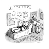 Popeye lies on a couch at psychiatrist. Speaks to psychiatrist, who takes … - New Yorker Cartoon Stretched Canvas Print by Roz Chast