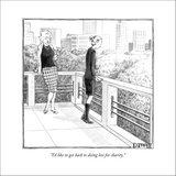"""I'd like to get back to doing less for charity."" - New Yorker Cartoon Stretched Canvas Print by Matthew Diffee"