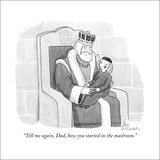 """Tell me again, Dad, how you started in the mailroom."" - New Yorker Cartoon Stretched Canvas Print by Leo Cullum"