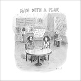 """Full grown slacker in coffee shop says, """"When I grow up, I want to be a he…"""" - New Yorker Cartoon Stretched Canvas Print by Roz Chast"""