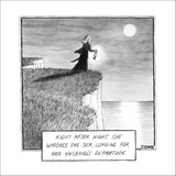 """Night after night she stares at the lovely sea longing for her husband's d?"""" - New Yorker Cartoon Stretched Canvas Print by Matthew Diffee"""