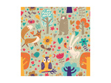 Stylish Floral Seamless Pattern with Forest Animals: Bear, Fox, Owl, Rabbit. Vector Background With Prints by  smilewithjul