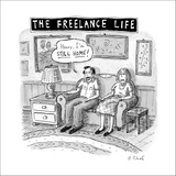 """THE FREELANCE LIFE"" - New Yorker Cartoon Stretched Canvas Print by Roz Chast"