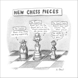 Three chess pieces are seen on a chess board assuming new identities.  - New Yorker Cartoon Stretched Canvas Print by Roz Chast