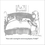 """Guess who's wearing her anniversary funjams, Freddy?"" - New Yorker Cartoon Stretched Canvas Print by Michael Crawford"