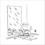 Mischievous dog, looking at self in mirror, thinking 'Bad dog!' - New Yorker Cartoon Stretched Canvas Print by Tom Cheney