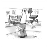 A man in an office cubicle holds a chair behind his head, about to slam it? - New Yorker Cartoon Stretched Canvas Print by Tom Cheney