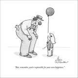 """But, remember, you're responsible for your own happiness."" - New Yorker Cartoon Stretched Canvas Print by Leo Cullum"