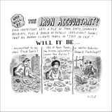 Who will be the... The Iron Accountant? Pictures and descriptions of conte… - New Yorker Cartoon Stretched Canvas Print by Roz Chast