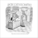 """""""One day, in the psychic bookstore"""" A man speaks to the woman at the infor…"""" - New Yorker Cartoon Stretched Canvas Print by Roz Chast"""