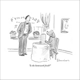 """""""Is the homework fresh?"""" - New Yorker Cartoon Stretched Canvas Print by Danny Shanahan"""