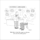 """Well, Bob, it looks like a paper cut, but just to be sure let's do lots o…"" - New Yorker Cartoon Stretched Canvas Print by Robert Mankoff"