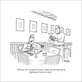 """I'll have the misspelled 'Ceasar' salad and the improperly hyphenated vea…"" - New Yorker Cartoon Stretched Canvas Print by Jack Ziegler"