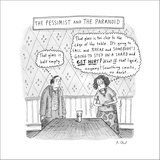 The Pessimist and the Paranoid - New Yorker Cartoon Stretched Canvas Print by Roz Chast