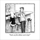 """""""Yeah, our first album went vinyl."""" - New Yorker Cartoon Stretched Canvas Print by Matthew Diffee"""